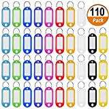 110 Pack Plastic Key Tags Keychain Tags, Assorted Color ID Label Tags Luggage Tags with Split Ring Lable Window, 10 Colors