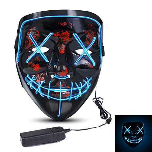 Blue Halloween Costumes (ThinkMax Halloween LED Mask, Scary Cosplay Mask EL Wire LED Light up for Halloween Festival Costume Party Decoration)