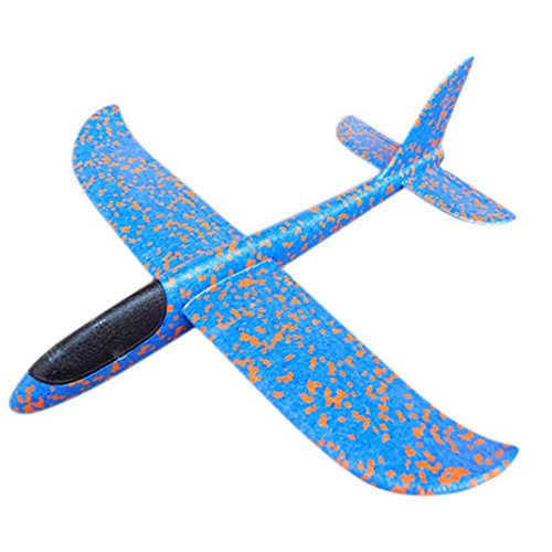 E-SCENERY Jumbo EPP Throwing Glider, Inertia Plane Foam Aircraft Toy Hand Launch Airplane Model Outdoor Sports Toy for Kids Children (19.2 x 19 inches) (Bule)
