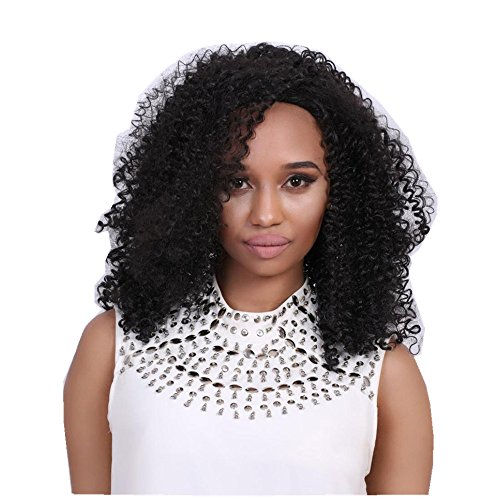 Vibola Women Afro Kinky Curly Wig Long Black Brown Front Curly Hairstyle Synthetic Hair Wigs For Black Women Wig (Corn Roll Hairstyle)