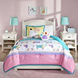 3 Piece Kids Puppies Dogs Themed Comforter Twin Set, Cute Adorable Childrens Playful Dog Print, Lovely Little Doggies Blue Yellow White Pink, Geometric Stripes Pattern, Dog Lover Bedding