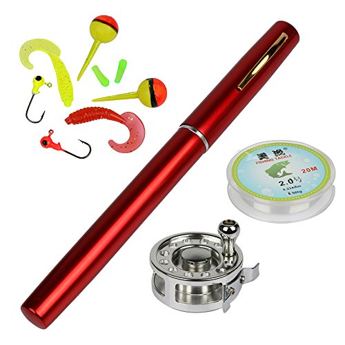 Pocket Pen Fishing Rod Pole Reel Nylon Line Set - 3