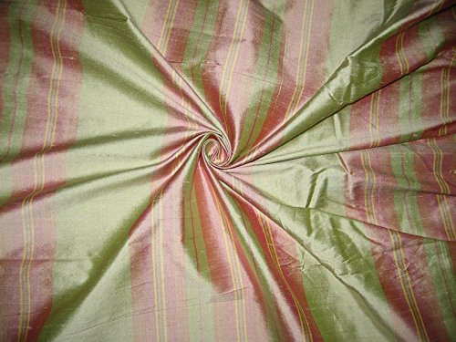 (SILK DUPIONI FABRIC LIGHT PINK,GREEN & YELLOW STRIPES)
