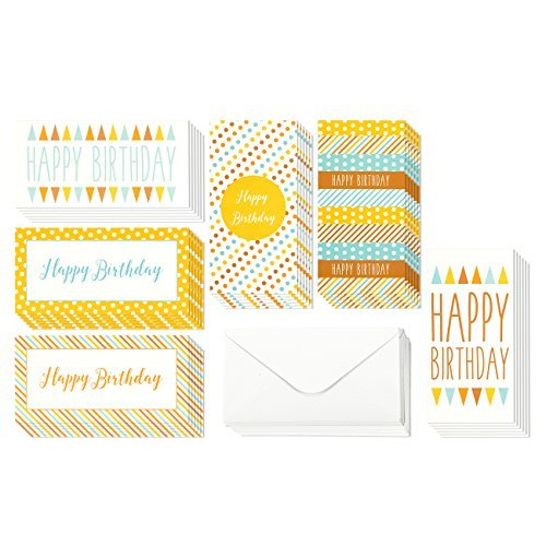 36 Pack Happy Birthday Money Greeting Cards, 6 Polka Dot and Stripe Designs, Bulk Box Set Variety Assortment, Envelopes Included 3.5 x 7.25 Inches