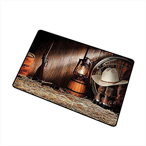 Dip Western Boots - Mdxizc Washable Doormat Western Decor Collection Authentic Gear Straw Hat ATOP Genuine Leather Boots and Kerosene Oil Lantern Lamp W24 xL35 Easy to Clean Carpet Dark Brown
