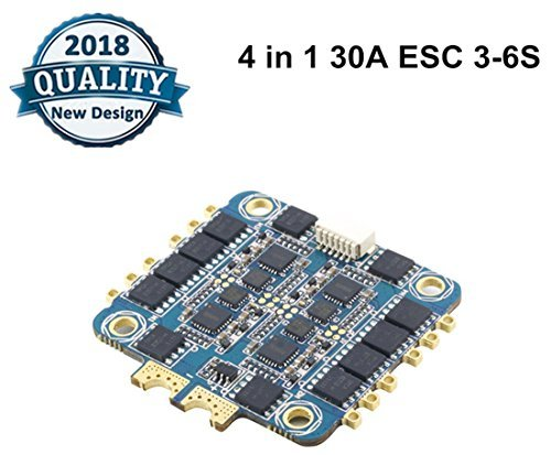 Crazepony 4 In 1 30A ESC BLHeli_S,BLHeli S Electronic Speed Controller (3-6S Input,Dshot 600) Brushless ESC for FPV Racing Drone (Supports Damped Light)