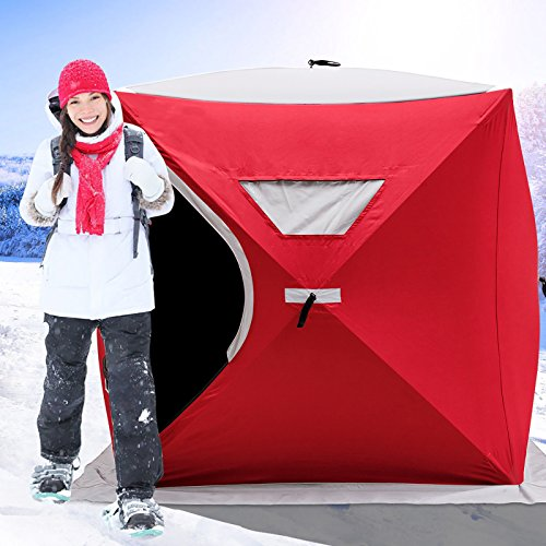 Happybuy Ice Fishing Shelter 2 3 4 8 Person Pop up Ice Fishing Shelter Waterproof Portable Ice Tent for Outdoor Fishing (Red for 2 Person) (Best Pop Up Ice Shelter)