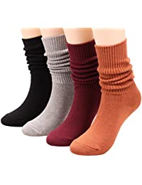 4 Pairs Women Knit Cotton Crew Socks Casual Mid Calf Boot Slouch Socks, Size 5-9 S2