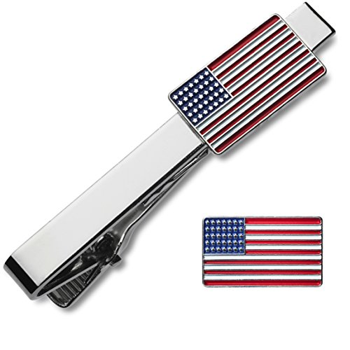 2 Pc Tie Bar Clip and Lapel Pin Set USA American Flag Patriot Collection Gift-Boxed
