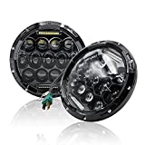 Mictuning LED Headlights 7 Inch 75W Hi/Lo Beam DRL for Jeep Wrangler 07-15 Harley and Hummer (Pack of 2, Black)