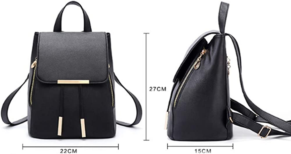 Lx10tqy Fashion Solid Color Faux Leather Woman School Shopping Large Capacity Backpack
