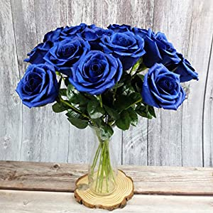 Royal Navy Blue Paper Rose Unique Anniversary Gift For Her Handmade Crepe Paper Flowers for Valentine Birthday Mother Day, Single Long Stem Real Looking, 01 Flower 3
