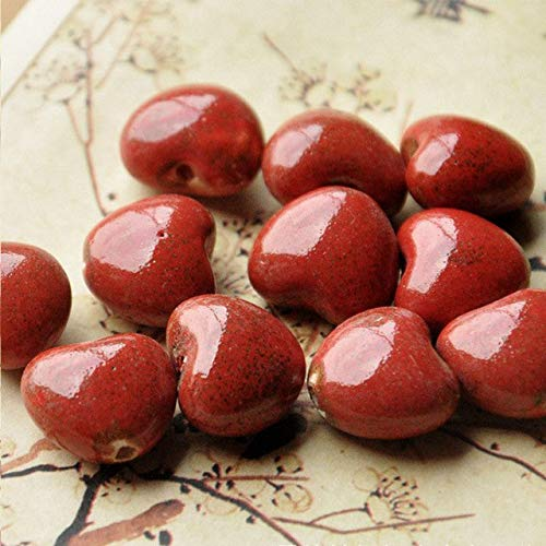 Calvas 15mm Heart Ceramic Beads for Women Men Bracelet Material Bead Mixed Color DIY Loose Porcelain Charm Beaded for Jewelry - (Color: red, Item Diameter: 15mm) (Porcelain Beads Charms)