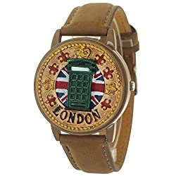 Brown Antique Retro Style London Telephone Booth Clamshell Wrist Watch Quartz Movement Leather Strap