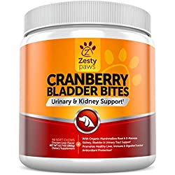 Cranberry Treats for Dogs - Urinary Tract & Bladder Pet Food Supplement - Antioxidant & Anti-Inflammatory for UTI Support - D-Mannose & Organic Marshmallow + Licorice - 90 Chicken Liver Chews