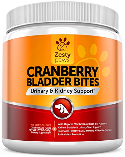 Cranberry Treats for Dogs - Urinary Tract & Bladder Pet Food Supplement - Antioxidant & Anti-Inflammatory for UTI Support - D-Mannose & Organic Marshmallow + Licorice - 90 Chicken Liver (Dog Health Supplements)