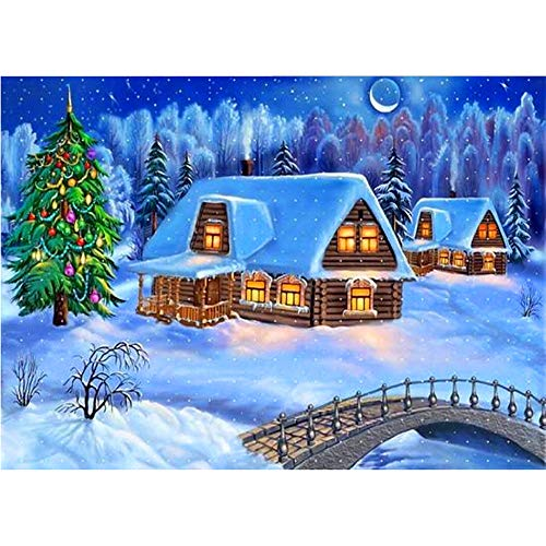 Loneflash Christmas DIY 5D Diamond Painting,Snow Scene Crystal Embroidery Pictures Cross Stitch for Home Wall Decoration,Full Drill, (B) ()