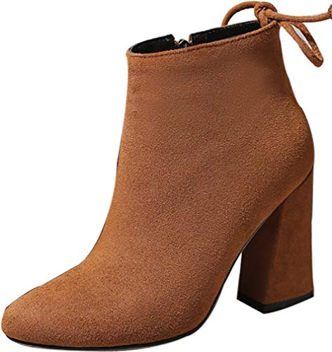 Block 5CM Heel ankcif Zipper Boots Calaier 9 Women Brown qZfRwXRBH