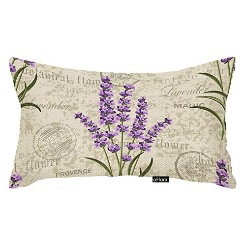 oFloral Purple Flower Throw Pillow Case Floral Pattern with Lavenders on Vintage Colorful Provence Aroma Decorative Throw Pillow Covers for Home Decor Cotton Linen Pillowcase 12x20 Inches