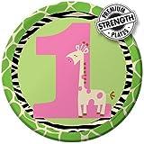 Creative Converting Wild at One Giraffe Round Dessert Plates, 8 Count