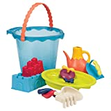 BRISTLE BLOCKS By BATTAT B. Toys – Shore Thing – Large Beach Playset – Large Bucket Set (Sea Blue) with 11 Funky Sand Toys for Kids – Phthalates and BPA Free – 18 m+