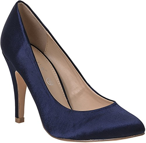CC038 Womens Court Shoes High Heel Plain Satin Outer High Heel Elegant Shoes For Wedding Bridal Bridesmaids Party Prom Navy jyskiowdq