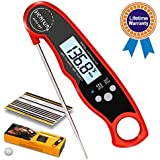 HENSUN Waterproof Digital Instant Read Meat Food Thermometer with Folding Probe-BBQ Or Grilling, with Magnetic | Backlight & Calibration | Quick, Smart Cooking Red, Milk,Oven Roasts, 1 Candy