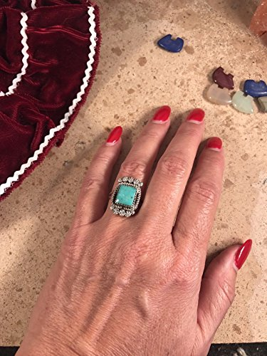 Vintage Sterling Silver Navajo Pilot Mountain Turquoise Ring Size 7.5
