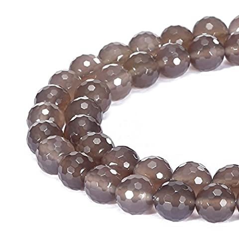 BRCbeads Gorgeous Natural Grey Agate Gemstone Faceted Round Loose Beads 10mm Approxi 15.5 inch 35pcs 1 Strand per Bag for Jewelry - Grey Agate Stone
