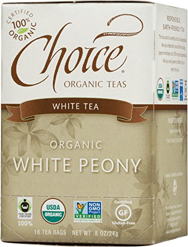 Choice Organic Teas White Tea, White Peony, 16 Count, Pack of 6 ()