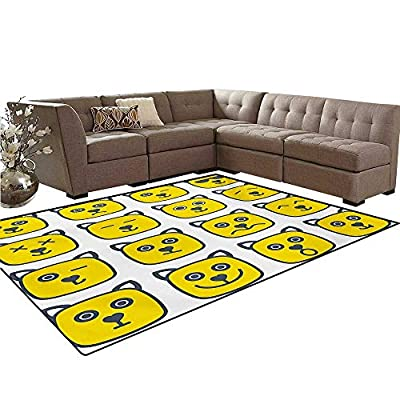 Emoji Door Mats for Inside Cat Dog Like Animal Smiley Face with Expressions Angry Happy Sad Fancy Moods Art Bath Mat 5'x6' Yellow and Grey