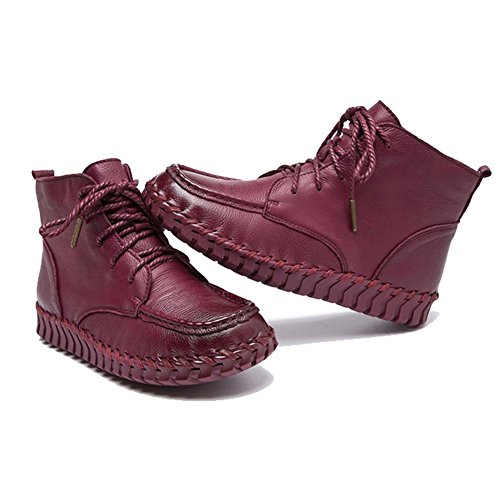 morbido scarpe thicker fatto incinta pelle donne pigra red stivali a wine caldo felpa piatto suole caviglia mano laccio 4ZqwXR