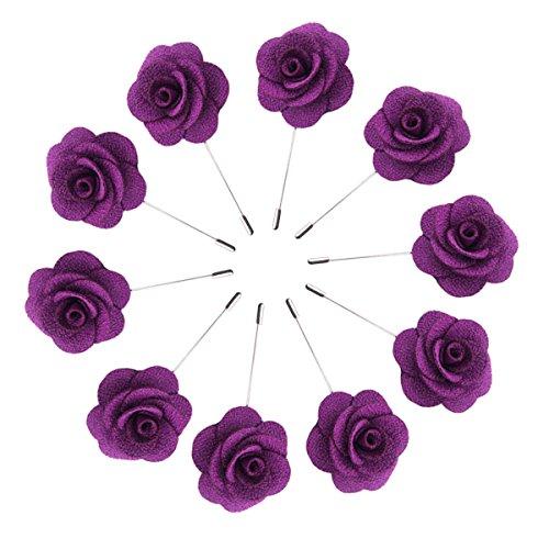 S&E Fashion Men Rose Floral Lapel Stick Brooch Pin Suit Tuxedo Corsage Accessory (Purple 10Pack)
