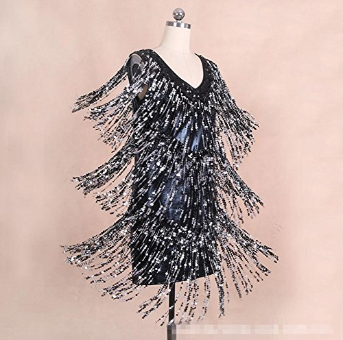 OOFAY Fashion sexy v-neck flow SU Liang Latin dance dress , black , f (Womens Lace Flow Lotus)