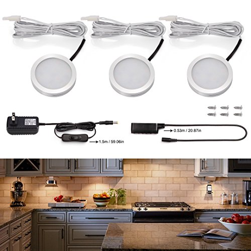 S&G Set of 3 LED Puck Lights 3000K Warm White Under Counter Lighting 510lm Under Cabinet Lighting Total of 6W with Switch Control LED Kitchen Lighting Closet Lights (Led Light For Kitchen Cabinet compare prices)