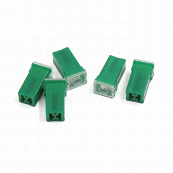 ucland mini 40 amp pal fuse female plug-in auto link block fuses, green, 5  pieces: amazon com: industrial & scientific