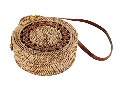 (Round Rattan Bag, Handmade Bali Ata Straw Woven Circle Crossbody Handag for Women with Shoulder Leather)