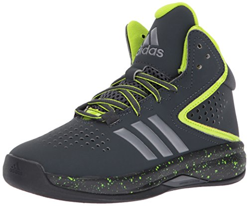 adidas Performance Boys' Cross 'Em up Basketball Shoe, Black/Semi Solar Yellow/Black, 1 Medium US Little Kid