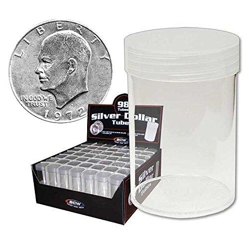 Dollar Roll Eisenhower (COIN STORAGE TUBES, round clear plastic w/ screw on tops for Large dollar / EISENHOWER / MORGAN DOLLAR (10 tubes))