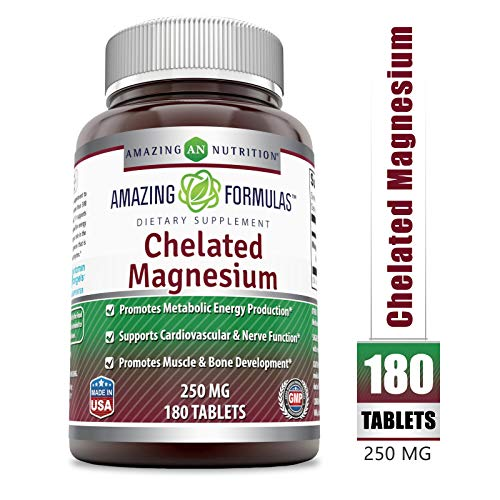 Amazing Formulas - Chelated Magnesium Dietary Supplement - 250 Milligrams - 180 Tablets (Non-GMO) - Promotes Muscle and Bone Health - Supports Metabolic Energy Production. *
