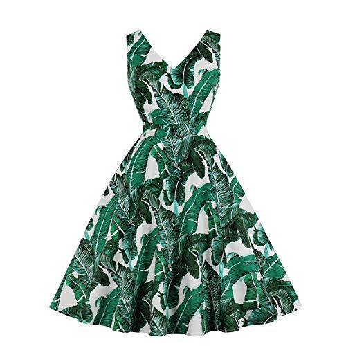 (Wellwits Women's Tropical Leaf Print V Neck Cotton Vintage Swing Dress Green S)