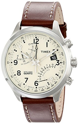 Timex Men's T2N932 Intelligent Quartz Fly-Back Chronograph Brown/Cream Leather Strap Watch
