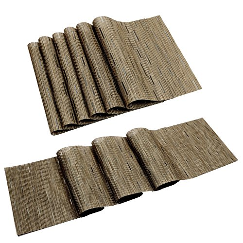 Pauwer Placemats and Table Runner Sets Woven Vinyl Heat Resistant Non-slip Bamboo Placemats Set of 6 and Matching Table Runner 12″x71″ Washable Easy to Clean (Placemats+Table Runner,Khaki)