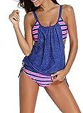 EVALESS Womens Blouson Padded Top and Boyshort Bottom Swimwear Large Size Blue&Pink