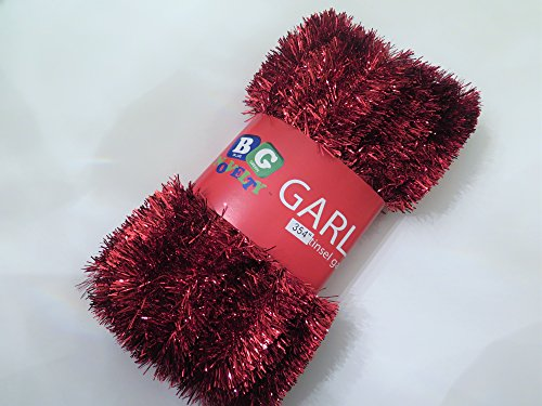 Red Foil Tinsel Christmas Garland 354 (29.5 Feet) By Blue Green Novelty