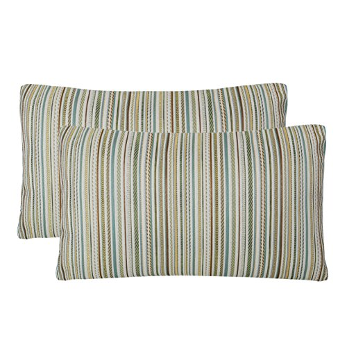 Pack of 2 Simpledecor Throw Pillow Covers Couch Pillow Shells,12X20 Inches,Jacquard Colorful Stripes,Multicolor Teal