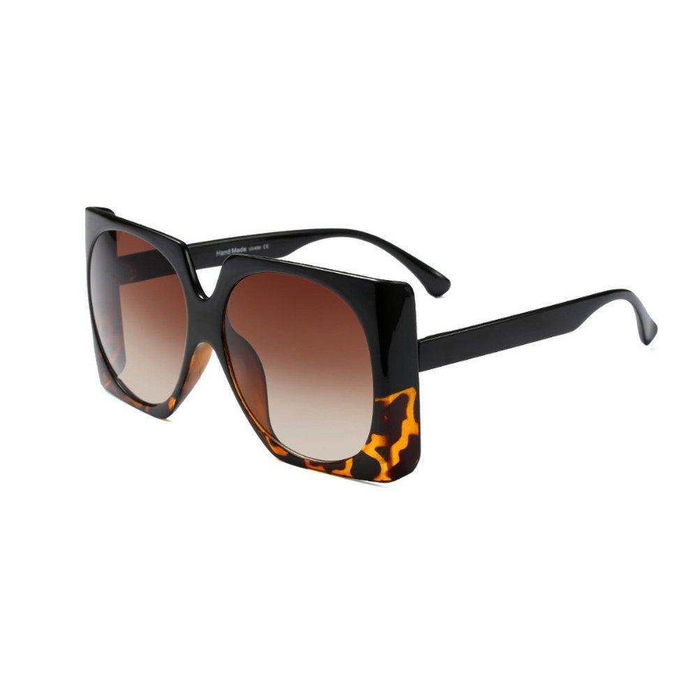 MINCL/Square Sunglasses Women Retro Brand Designer Oversized Sun Glasses (leopard-gradient brown)