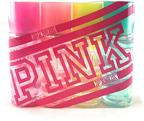 Victoria Secret Pink Fragrance Mist Set Travel Size 4 Piece Featuring: Fresh and Clean, Warm and Cozy, Total Flirt, and Cool and Bright