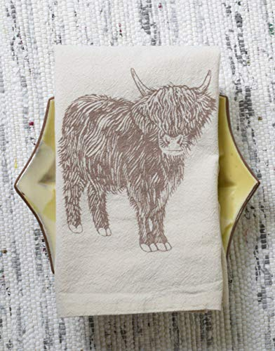 Mocha Organic Cotton (Cloth Napkins - Set of 4 - Cow Design in Mocha Brown - Organic Cotton - Scottish Highland)
