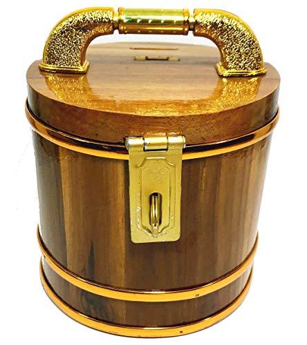 (Thai JJ Mart Hand Made Teak Wood Tank Shape Money Bank Lock Key, Safe Storage Money. Storage Piggy Coin for Kids and Adults Gift Home Decorative A Piggy Bank Birthday Gift.)
